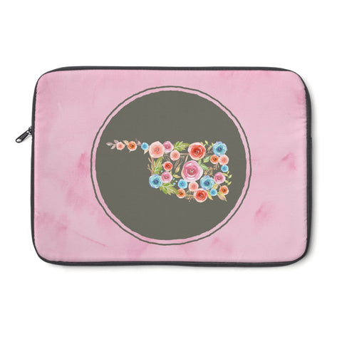Pink Oklahoma Watercolor Flowers Laptop Sleeve