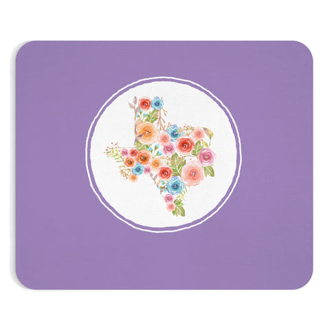 Purple Texas Watercolor Flowers Mousepad