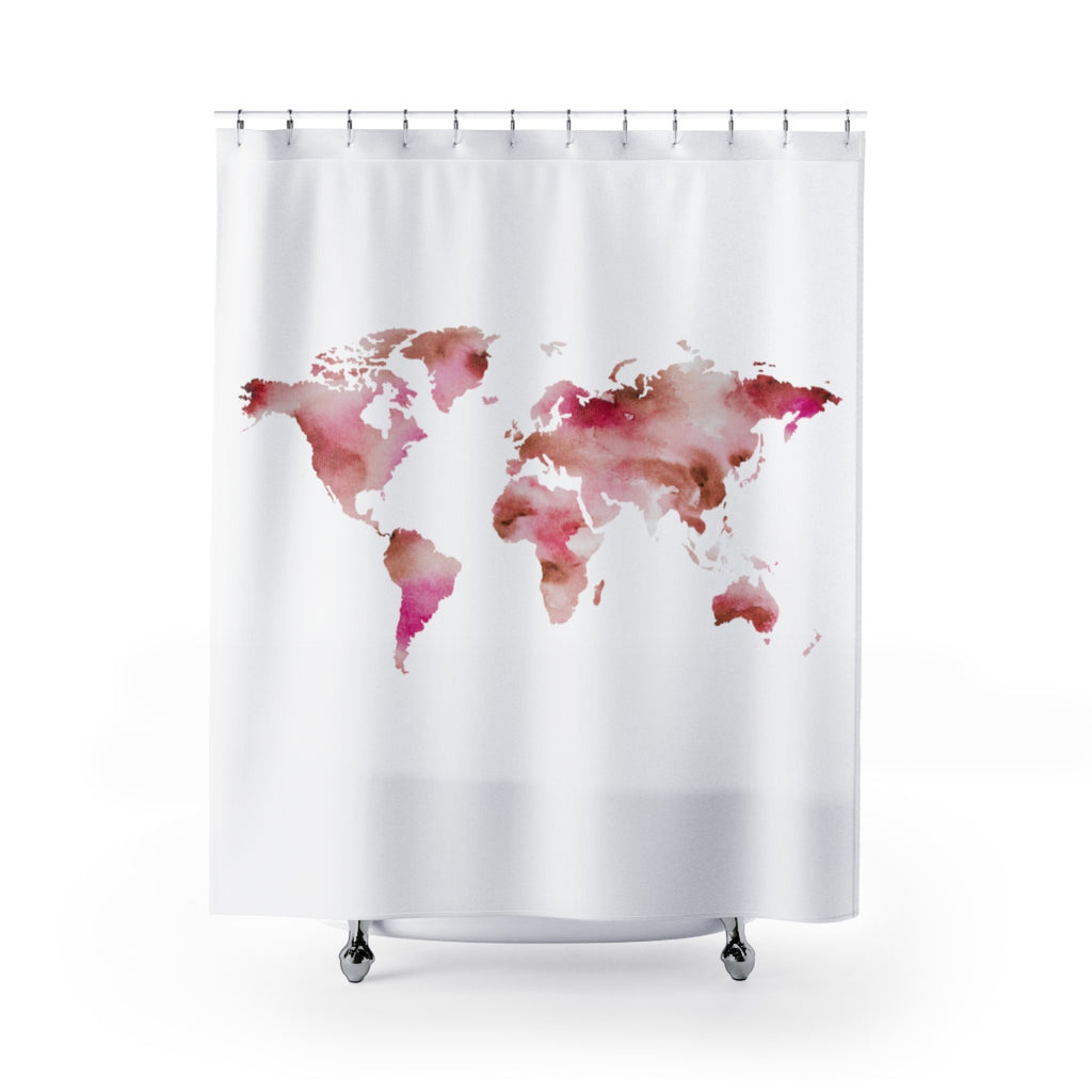 Shower Curtains Pink And Brown.World Shower Curtain Pink Brown Wanderever