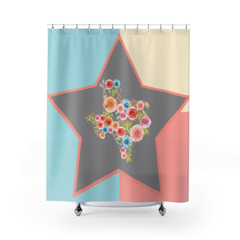 Texas Star Watercolor Flower Shower Curtain