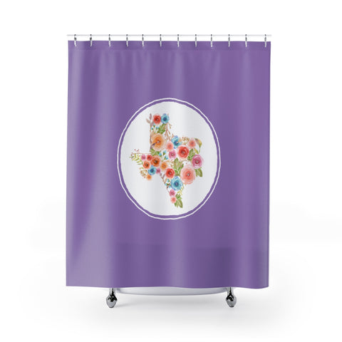 Purple Texas Watercolor Flower Shower Curtain