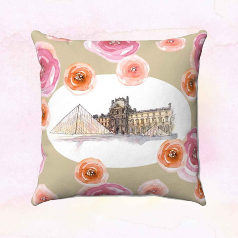 Louvre Square Pillow Cover