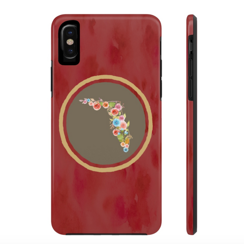 Red Florida Watercolor Flower Case Mate Tough Phone Case