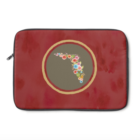 Red and Gold Florida Watercolors Laptop Sleeve