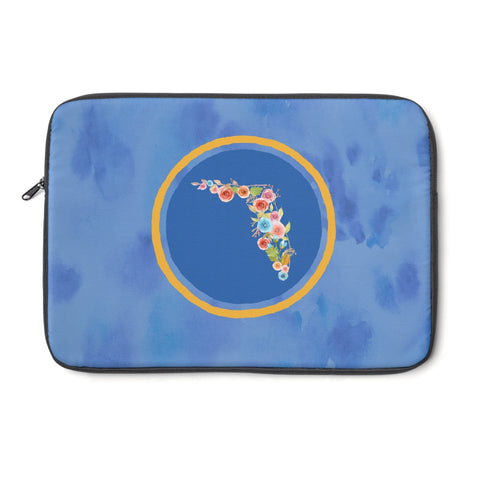 Blue and Orange Florida Watercolor Laptop Sleeve