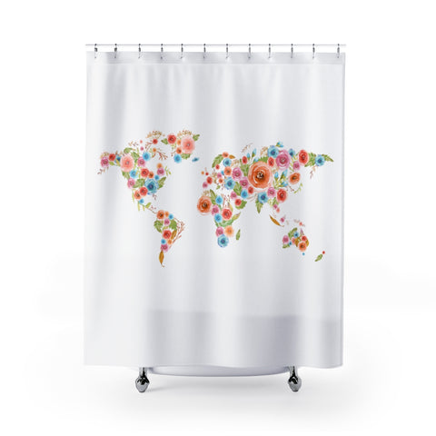 Watercolor Flowers World Shower Curtain
