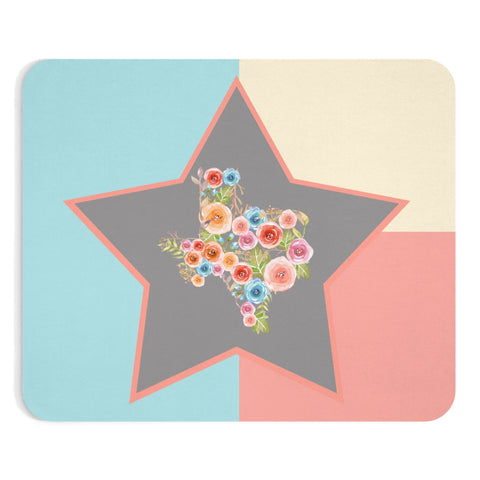 Texas Flag Inspired Watercolor Flower Mousepad