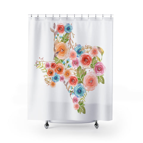 Texas Watercolor Flower Shower Curtain