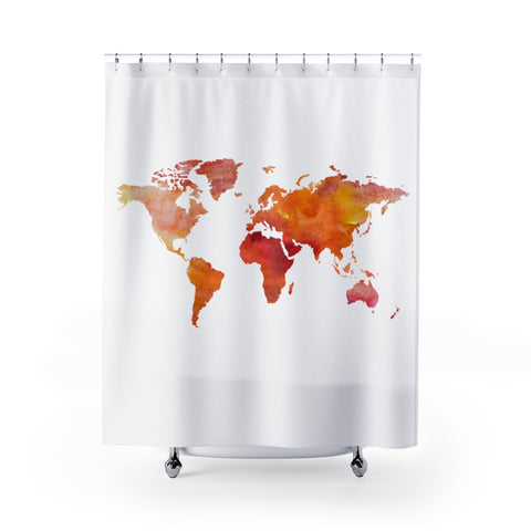 World Shower Curtain - Red/Pink/Yellow