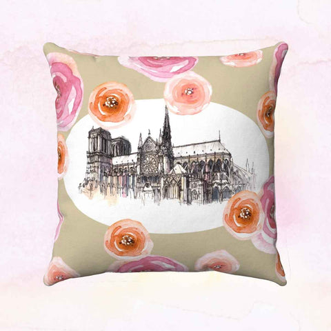 Notre Dame Square Pillow Cover