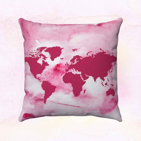 Pink World + Europe Square Pillow Cover
