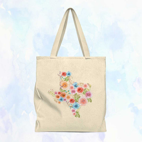 Texas Watercolor Flower Shoulder Tote Bag