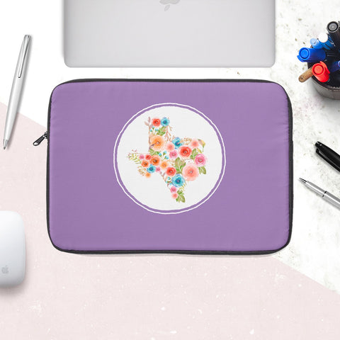 Texas Watercolor Flower Purple Laptop Sleeve