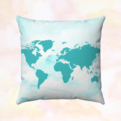 Turquoise World + Europe Square Pillow