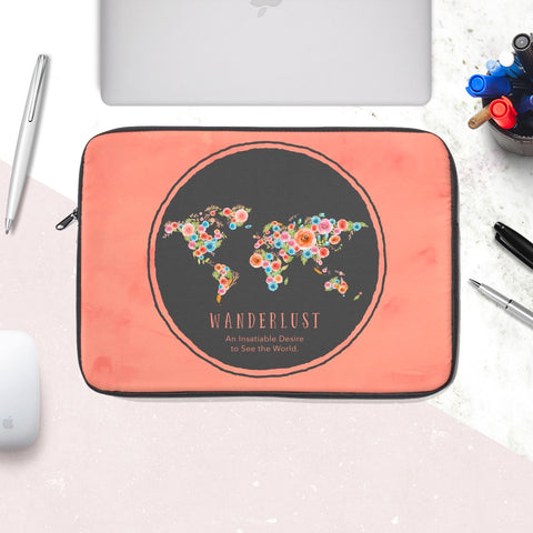 Wanderlust Watercolor World Laptop Sleeve