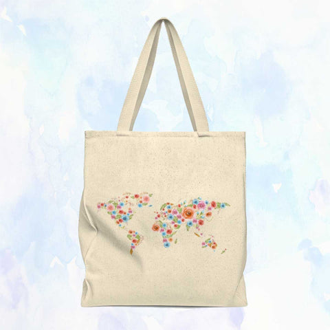 Watercolor Flower World Shoulder Tote Bag