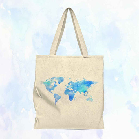 Watercolor World Shoulder Tote Bag (Blue/Purple)