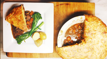 Ox cheek, Wild Ride Dry Hopped Pale Ale and Bone Marrow Pie