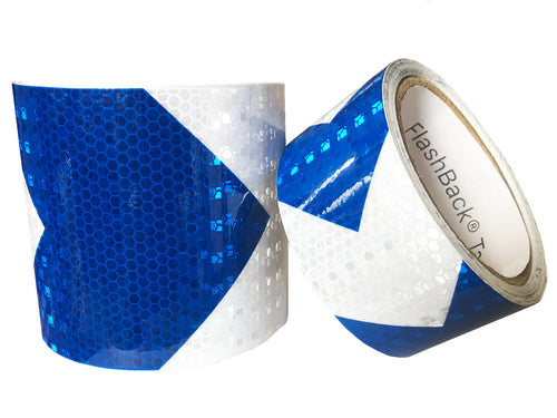 Blue & White Arrow Reflective Tape by FlashBack® Tape