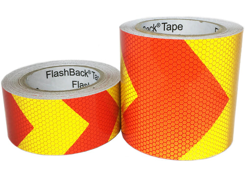 Yellow and Red Arrow Reflective Chevron Tape
