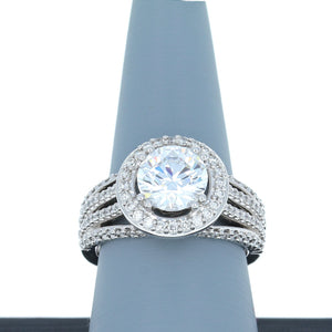 A Jaffe Engagement Ring Semi Mount with Halo in 18K White Gold ME1601