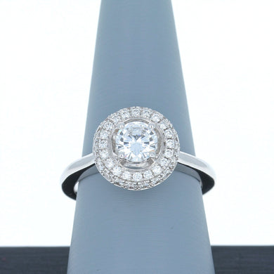 A Jaffe Engagement Ring Semi Mount Double Halo in 18K White Gold ME1674