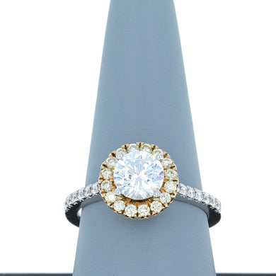 A Jaffe Engagement Ring Semi Mount Halo in 18K Two Tone Gold ME1800