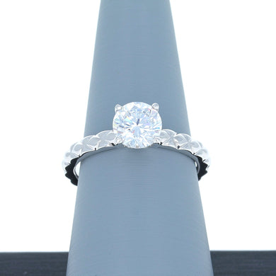 A Jaffe Engagement Ring Semi Mount with Quilted Band in 14K White Gold ME2058/106