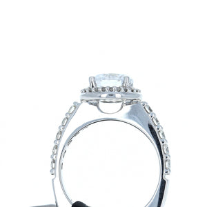 A Jaffe Engagement Ring Semi Mount with Halo in 18K White Gold MES168/62