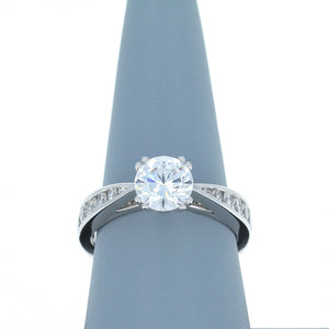 A Jaffe Engagement Ring Semi Mount in 18K White Gold MES233/52