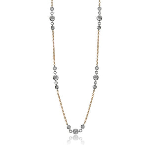 Simon G Diamond Necklace in 18K White and Yellow Gold CH112