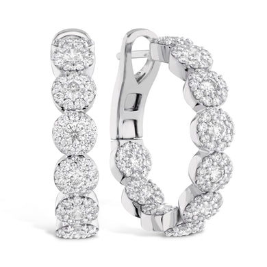 Hearts On Fire Fulfillment Hoop Earrings 2.10 Total Carats in 18K White Gold
