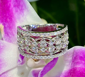 "Uneek ""Rosaline"" Open Lace Diamond Band 14K White Gold"