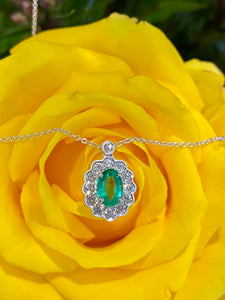 Simon G Emerald and Diamond Pendant in 18K White Gold LP4466