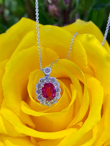 Simon G Ruby and Diamond Pendant in 18K White Gold LP4466