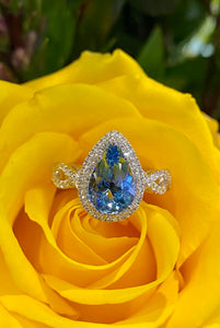 Simon G Aquamarine and Diamond Ring in 18K White Gold MR3076