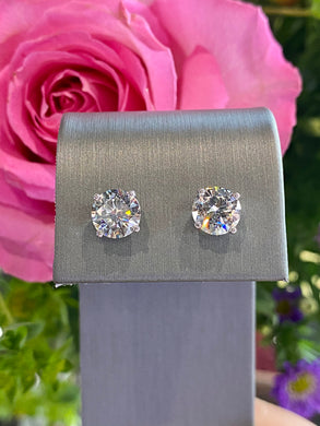 Diamond Stud Earrings 3.01 total carats in 14K White Gold