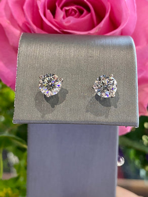 Diamond Stud Earrings 2.08 total carats in 14K White Gold