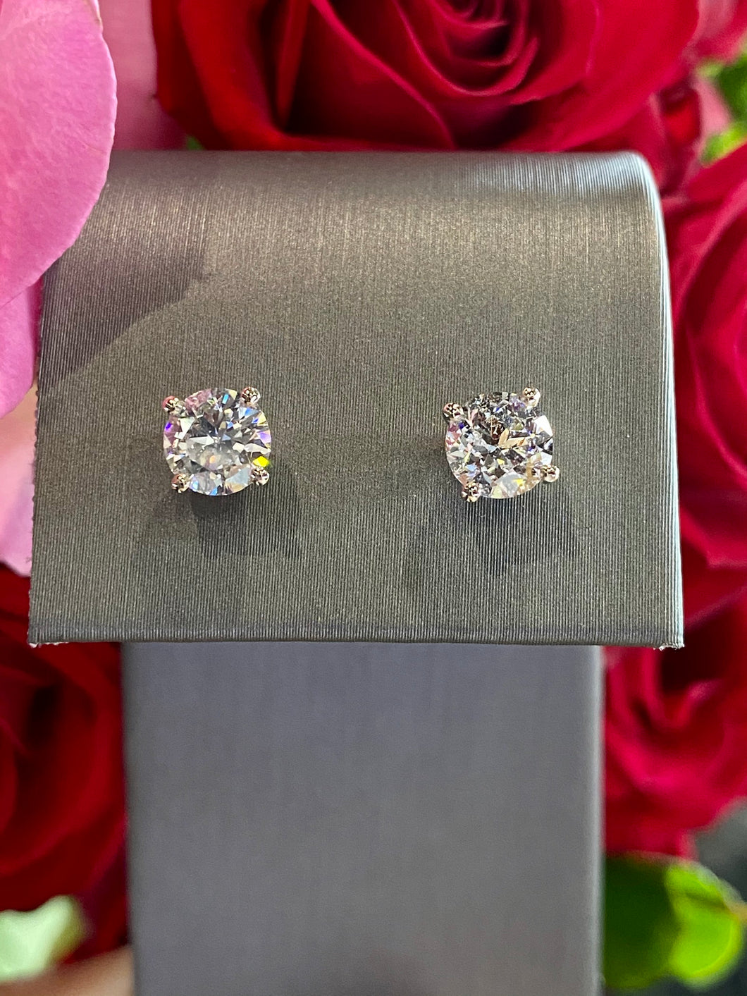 Diamond Stud Earrings 1.47 total carats in 14K White Gold