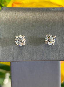 Diamond Stud Earrings 1.00 total carats in 14K White Gold