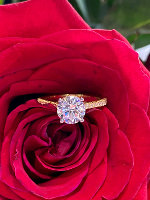 Simon G Engagement Ring Semi Mount in 18K Yellow Gold LR2350