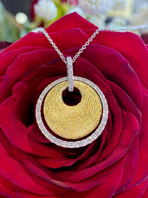 Simon G Diamond and Yellow Gold Disc Pendant MP1523-A