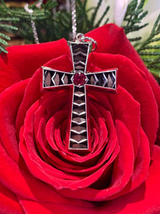 Lance Pierce Original  White Gold Cross with Ruby Center Stone