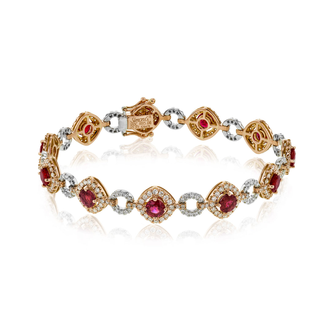 Simon G LB2198 Ruby and Diamond Bracelet in Rose and White Gold