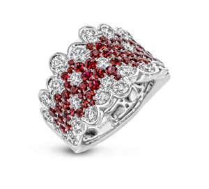Simon G LP2269 Ruby and Diamond Ring in White Gold One of a Kind