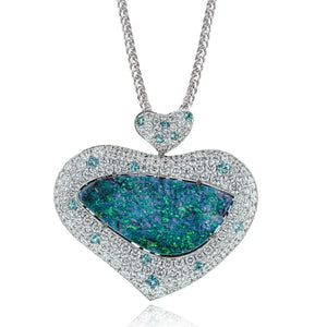 Simon G LP4428 Opal Paraiba and Diamond Pendant in White Gold