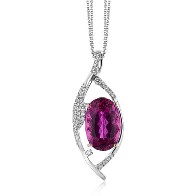 Simon G LP4542 Rubellite and Diamond Pendant in White Gold