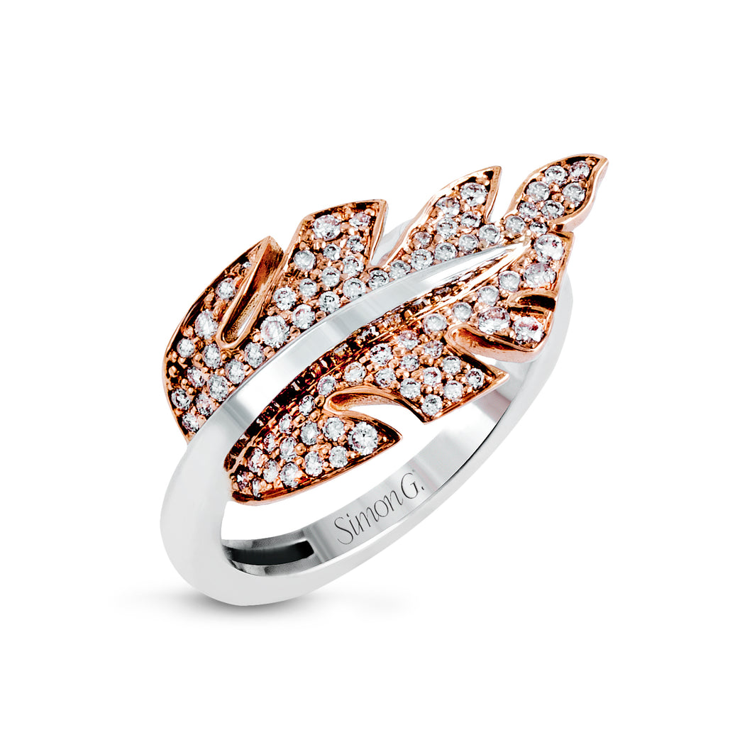 Simon G Diamond Leaf Ring in 18K Rose and White Gold LR1038-A