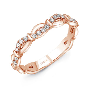"Uneek ""Mansfield"" Stackable Diamond Band in 14K Rose Gold"