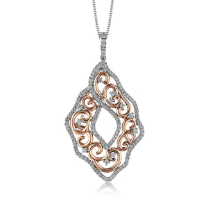 Simon G MP1788 Diamond Scroll Pendant in Rose and White Gold